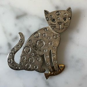 Vintage LIA Cat Brooch
